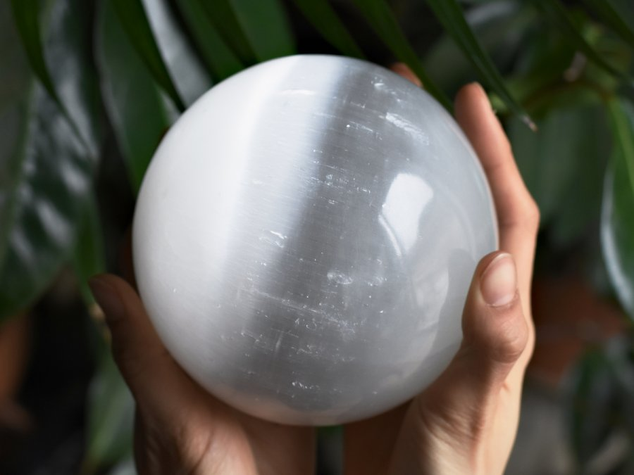 LARGE Selenite Crystal Sphere Polished Stone White Selenite Good For Eliminating Negative Energy And Cleansing | Learn Healing Crystal Benefits At Best Crystals Wholesale