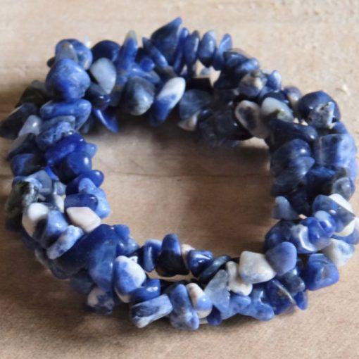 Blue Sodalite Gemstone Stone Chip Bracelet Gift