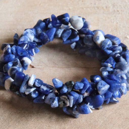 Deep Blue Sodalite Stone Chips Bracelet Yoga Meditation Jewelry Gift | One Size Triple Strands Stretch Loop Bracelets