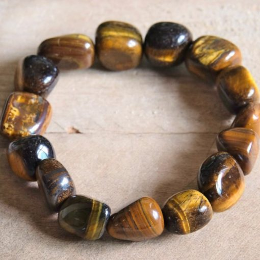 Natural Tiger's Eye Stone Raw Crystal Stretch Bracelet For Men And Women Yoga Gift Ideas