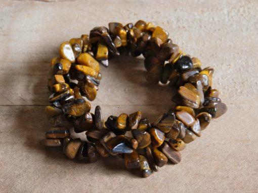 Natural Tiger's Eye Tigereye Tiger Eye bracelet Gemstone Chip Healing Crystals Gift