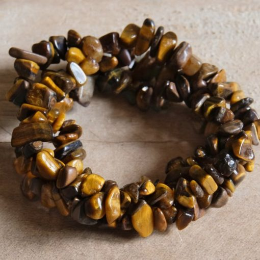 Tiger's Eye Bracelet Golden Tiger Eye Stone Chip Gemstone Bracelet