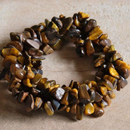 Golden Tiger's Eye Gemstone Chip Bracelet Sale Raw Crystal jewelry Gift