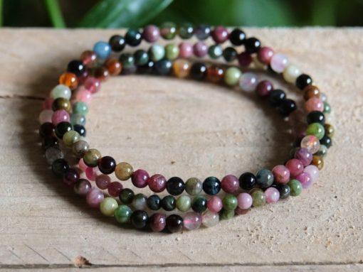 Natural Watermelon Tourmaline Crystal Bracelet | Green And Pink Tourmaline Gemstone ONE Size Stretch Bracelet Jewelry Gift