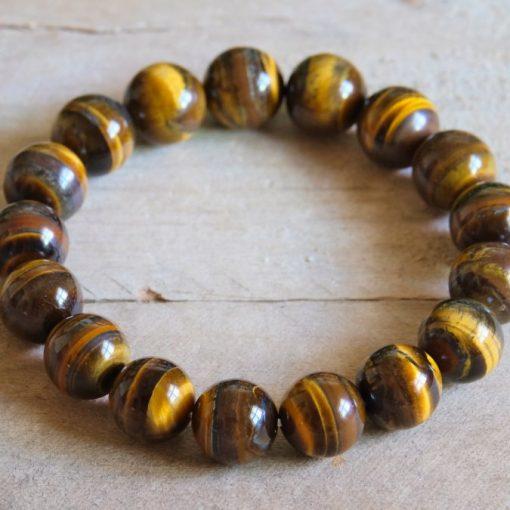 Golden Tiger's Eye Bracelet Stone Bead Chunky Bracelet Jewelry Sale