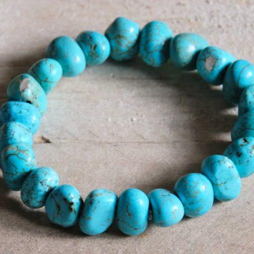 LARGE Turquoise Bracelet Chunky Turquoise Stone Bead Bracelet Gift Sale