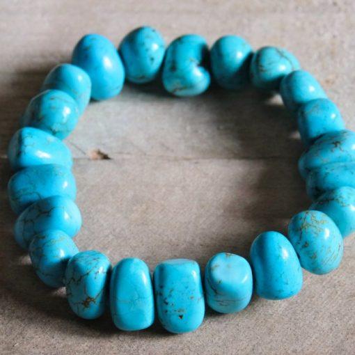 Chunky Turquoise Bracelet Aqua Blue Turquoise Stone Bead Jewelry Gift Sale