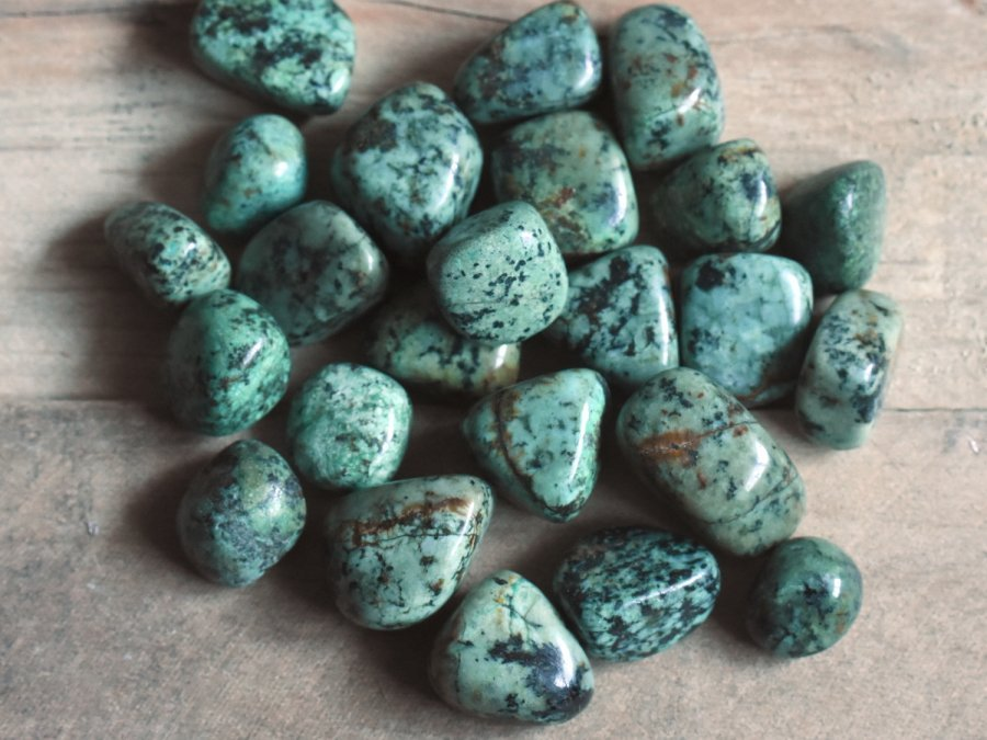 Raw African Turquoise Tumbled Stones Blue Teal Crystals Bulk Sale