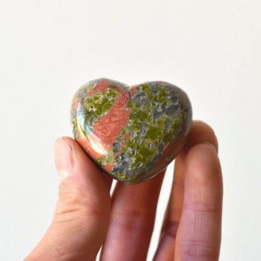 Heart Shape Unakite Hearts Crystal Palm Stone Best Crystals Wholesale