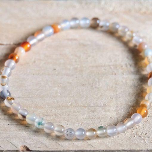 White Agate Stone Bead Stretch Bracelet Sale