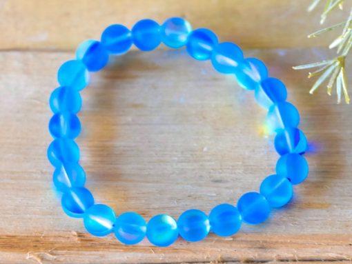 Blue Mermaid Glowing Glass Lab Moonstone Bracelet 8mm Cats Eye Glow Beads Stretch Bracelet Mermaid Motif Birthday Gift Sale