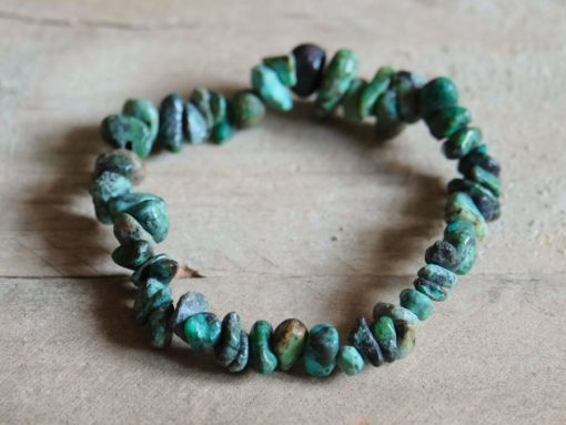 Blue Green Turquoise Gemstone Chip Bracelet