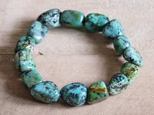 African Turquoise Crystal Bracelet Blue Teal African Turquoise Jewelry Gift