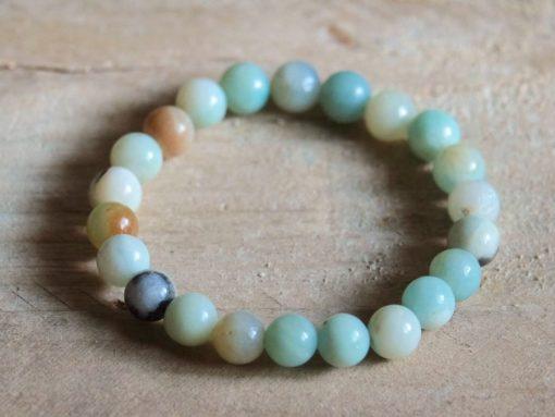 Blue Amazonite Stone Bead Bracelet Gift