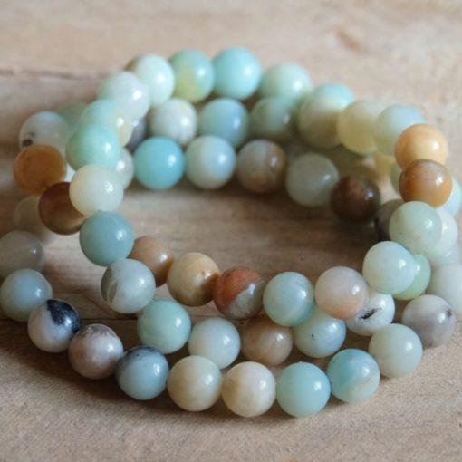 Blue Amazonite Crystal Bead Bracelet Jewelry Gift Sale