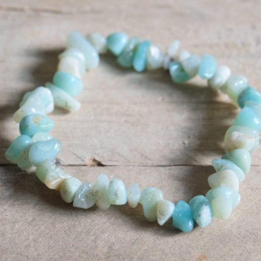 LARGE Amazonite Stone Chip Bracelet | Blue Amazonite Elastic Bracelet ONE Size Stretch Yoga Jewelry Sale