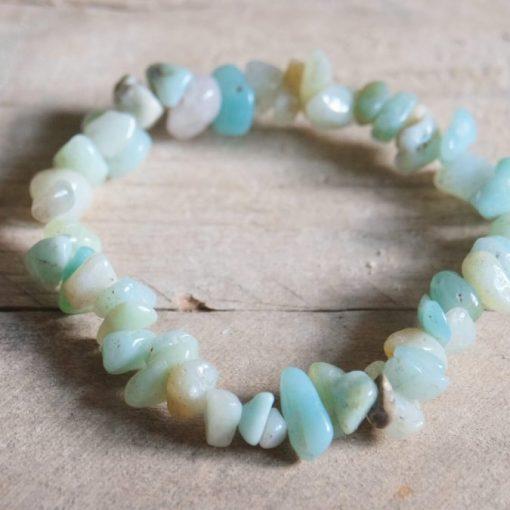 Blue Amazonite Stone Chip Gemstone Bead Bracelet Bulk Sale Wholesale