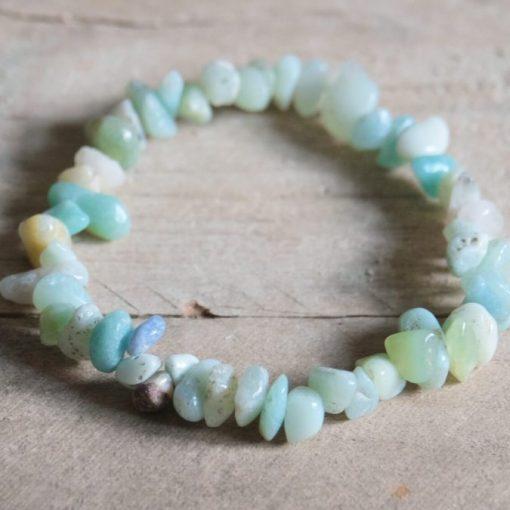 Stretch Loop Blue Amazonite Crystal Stone Chip Gemstone Bracelet Sale