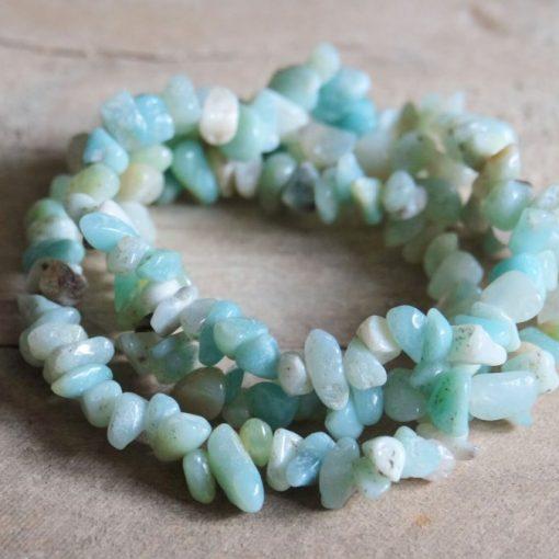 Blue Amazonite Stone Chip Healing Crystal Stretch Bead Bracelet