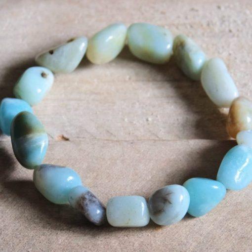 Blue Amazonite Bracelet Healing Crystal Birthday Gift Idea Amazonite Tumbled Stone Sale