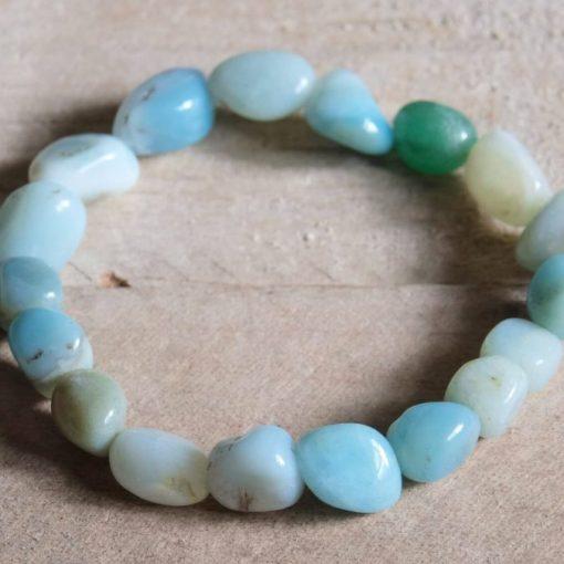 Natural Blue Amazonite Crystal Bracelet Amazonite Tumbled Stone Healing Crystal Sale