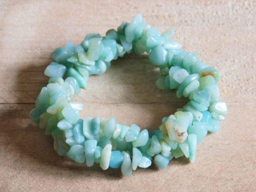 Raw Amazonite Chip Gemstone Bracelet Best Friend Healing Crystal Gift Sale