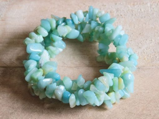 Blue Aamzonite Chip Bracelet Jewelry Gift