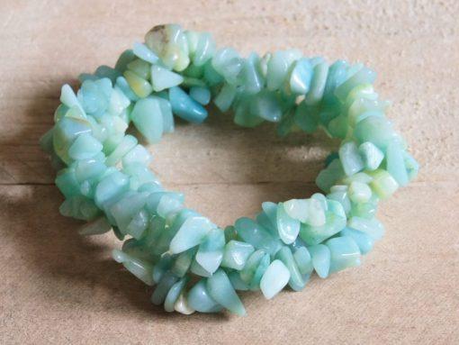 Blue Amaznoite Blue Crystal Chip Bracelet Birthday Gift Idea Sale