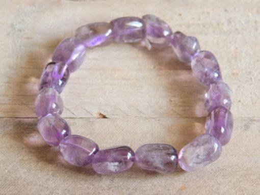 Amethyst Bracelet Lilac Color Lavender Purple Amethyst Crystal Tumbled Stone February Birthstone Birthday Gift Sale