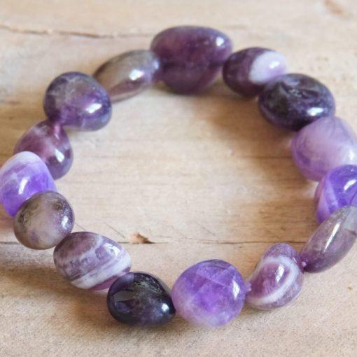 Chevron Amethyst Bracelet | Purple Amethyst Crystal Bracelet February Birthstone Birthday Gift