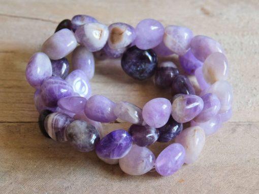 Purple Amethyst Bracelet Chevron Amethyst Crystal Stretch Bracelet Gift