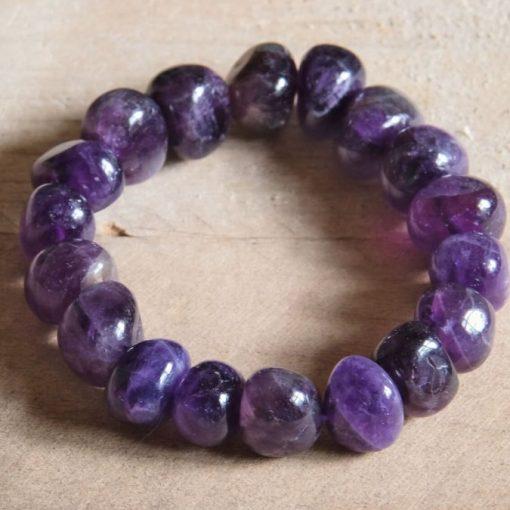 Deep Purple Amethyst Bracelet LARGE Amethyst Crystal Tumbled Stone Bracelet Bangle Women's Jewelry Gift Sale