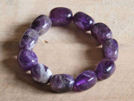 Banded Amethyst Chevron Amethyst Bracelet LARGE Amethyst Crystal Purple Stone Women's Jewelry Birthday Gift