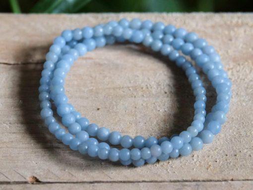Natural Angelite Beaded Bracelet Jewelry Gift Calming Energy Healing Crystal