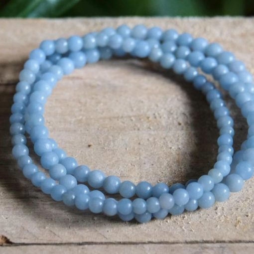 Natural Angelite Beaded Bracelet Jewelry Gift Calming Energy Healing Crystal