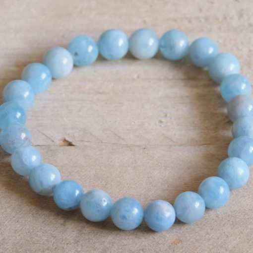 Blue Aquamarine Bead Bracelet March Birthstone Best Friend Birthday Gift