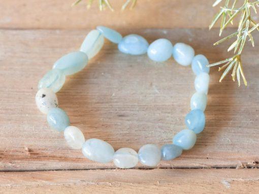 Genuine Aquamarine Crystal Bracelet Tumbled Aquamarine Stone Bead Yoga Stretch Bracelet Sale