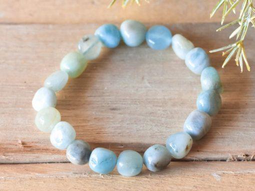 Genuine Aquamarine Crystal Beads Bracelet | March Birthstone Jewelry Birthday Gift