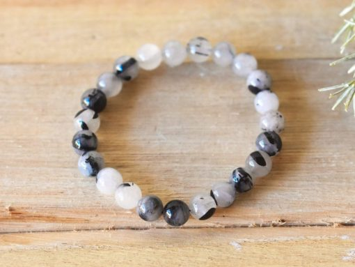 Tourmalinated Quartz Jewelry | Black Rutile In Quartz Crystal 8mm Stone Bead Jewelry Birthday Gift For Sale