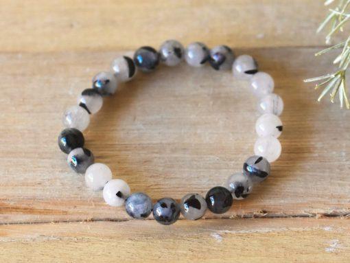 Natural Black Rutilated Quartz Crystal Protection Healing Stone 8mm Black Tourmaline In Quartz Women's Jewelry Sale