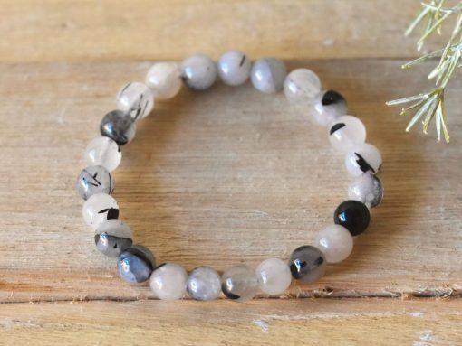 Black Rutile In Quartz Bracelet Natural Tourmalinated Quartz Women's Jewelry Gift For Sale