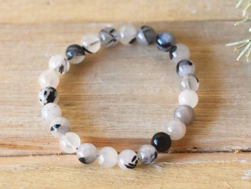 Black Tourmalinated Quartz Bracelet | Black Rutile Rutilated Quartz Crystal Jewelry
