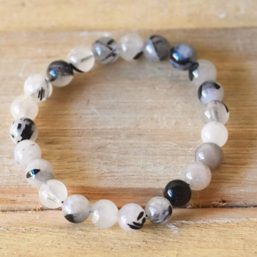 Black Tourmalinated Quartz Bracelet | Black Rutile Rutilated Quartz Crystal Jewelry