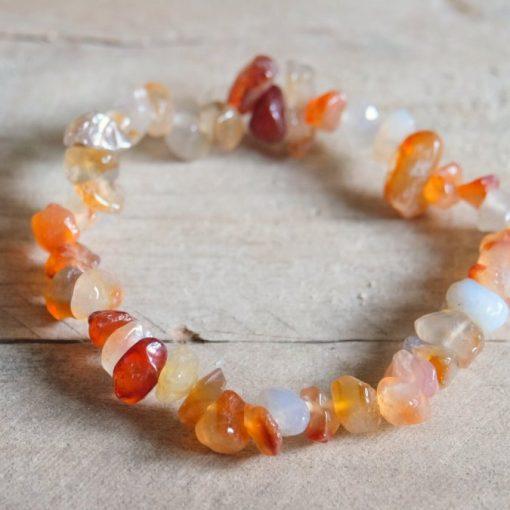 Red Carnelian Chip Bracelet Natural Carnelian Crystal Positive Energy Healing Stone Jewelry Sale