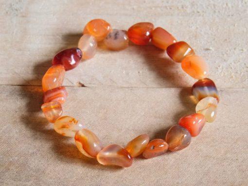 Red Carnelian Tumbled Stone Crystal Bracelet Gift Sale