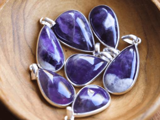 Chevron Amethyst Pendant With 925 Sterling Silver | Pear Shape Amethyst Pendant February Birthstone Gift