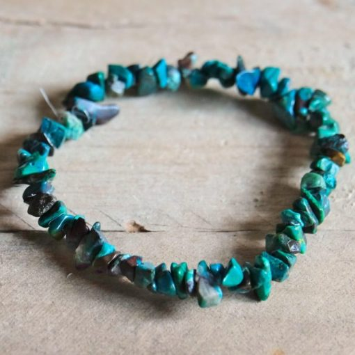 Blue Green Chrysocolla Crystal Bracelet Chips Jewelry Gift | Stone of Communication Healing Crystal Gift