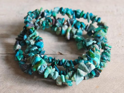 Natural Chrysocolla Stone Bracelet Gemstone Chips Jewelry Gift | Stone of Communication Healing Crystal Birthday Gift