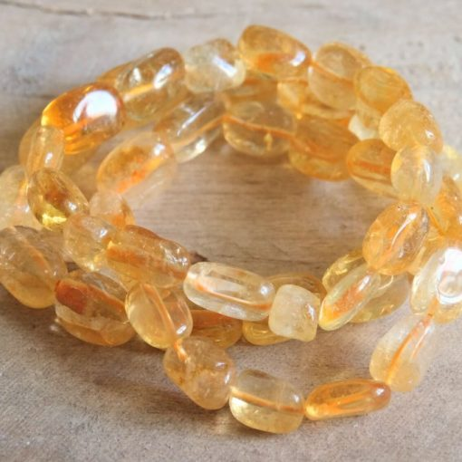 Natural Citrine Crystal Bracelet | Citrine November Birthstone Jewelry For Mom Birthday Gift Idea | Natural Citrine Tumbled Stone Bracelet Sale
