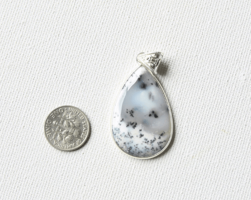Pear Shape Merlinite Dendritic Opal Agate Natural Stone Pendant SIlver Necklace Sale